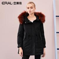 ERAL/艾莱依2018冬季新款大毛领时尚休闲短款羽绒服女617103026