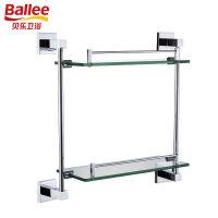 贝乐BALLEE G6218全铜浴室双层玻璃置物架化妆品台五金挂件