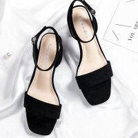 珂卡芙19夏季【显白显瘦】新款舒适粗跟女鞋一字绒面方头凉鞋女
