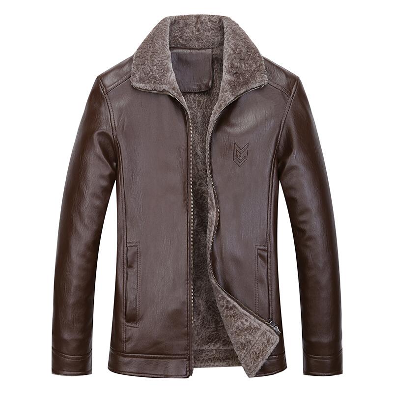 冬季爸爸装棉衣中老年40-50岁仿真皮衣外套中年男士冬装加绒加厚皮夹克皮棉袄