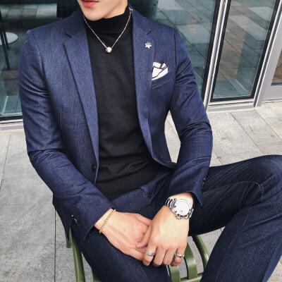 男秋冬外套秋冬男士西装套装韩版修身发型师西装两件套男英伦潮流帅气小西服 发货周期:一般在付款后2-90天左右发货,具体发货时间请以与客服协商的时间为准