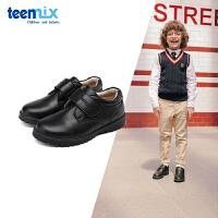 【超品�r:150.7元】天美意teenmix童鞋2019男童童鞋�和�皮鞋牛皮�A�^黑色中童�面�W生鞋男鞋(3-15�q可�x)