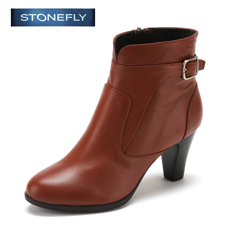 STONEFLY/斯通富来冬季拉链高跟上班时尚短靴女靴SD44117048