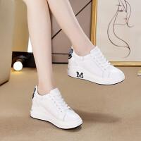 白色运动鞋女内增高坡跟厚底板鞋旅游休闲鞋小白鞋增高8厘米