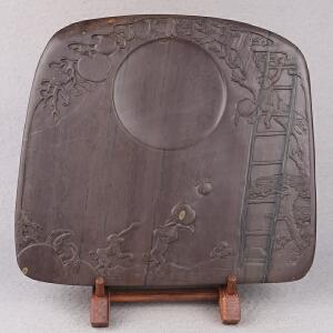 中国非物质文化遗产传承人群 钟景锐作品《金猴献寿》砚 梅花坑