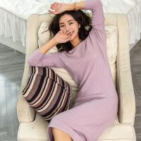 新半身裙秋冬新款女士中长款加厚大菱形格羊绒衫纯色套头韩版修身时尚
