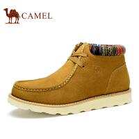 Camel 骆驼男靴 韩版休闲保暖男靴 秋冬新款圆头牛皮系带靴子