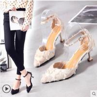 百搭仙女鞋款细跟尖头高跟鞋女中空一字扣凉鞋中跟猫跟单鞋女