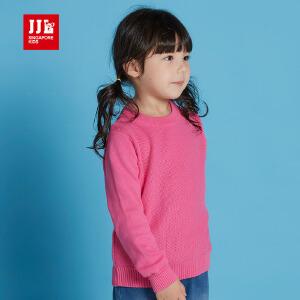 jjlkids季季乐童装儿童毛衣女童春秋款中小童经典圆领出色针织毛衣纯棉GQM61019