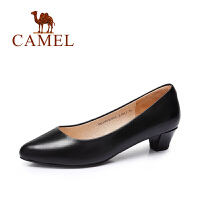 camel骆驼女鞋 休闲通勤 油蜡羊皮圆头中跟OL单鞋 新款单鞋
