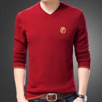 冬季新款羊毛衫男士鸡心领纯色毛衣针织打底羊绒衫V领时尚体��潮T