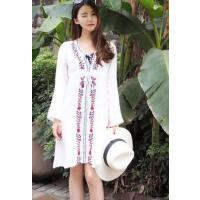新款海岛度假沙滩白色薄棉防晒民族风沙滩长裙裹裙沙滩裙女裙 支持礼品卡