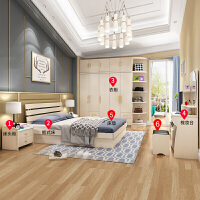 祥然 卧室成套6件套 1.8米床+5cm床垫+床头柜*1+4门衣柜+妆台+妆凳 银橡木色