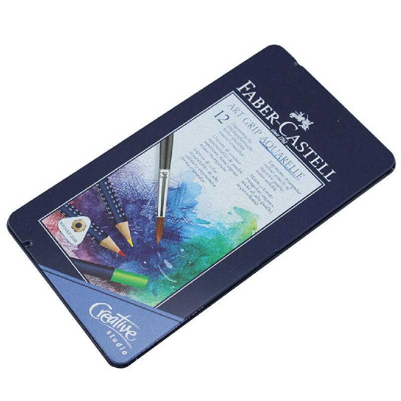辉柏嘉(Faber-castell)蓝铁盒 三角点阵水溶性彩色铅笔 水溶彩铅 12色套装