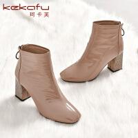 19珂卡芙冬季新款【保暖】个性潮流时装靴粗跟方头舒适靴子女