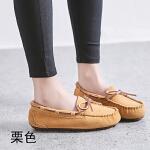 原宿豆豆鞋女春秋2019单鞋休闲平底孕妇懒人一脚蹬妈妈鞋