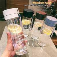 简约水杯运动大容量塑料杯户外透明杯子带盖直身男女防漏水壶学生