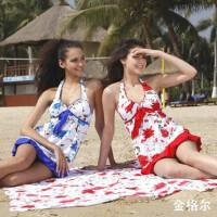 金格尔韩版设计时尚分体裙式游泳衣1056 可爱花朵裙