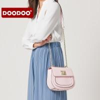 【支持礼品卡】DOODOO 夏天小包包2018新款马鞍包链条包斜挎小包女简约小猪包女包 D7009