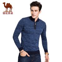 骆驼男装 冬季新款套头半高拉链修身男青年撞色长袖毛衣