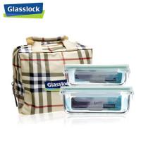 GLASS LOCK 三光云彩 韩国进口玻璃乐扣 保鲜盒饭盒便当盒四面锁扣 GL23A 二件套 SG501-38