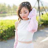 夏季雪纺蕾丝素色防晒袖套手套 简约长款遮阳防紫外线 颜色随机