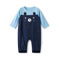 全棉时代蓝色婴儿针织拼接牛津纺连体衣1件装