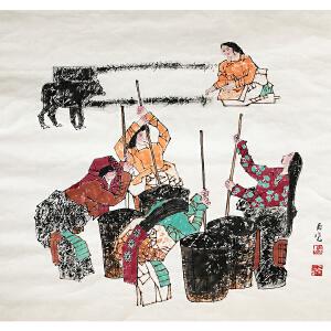 马西光《纺织图》著名画家
