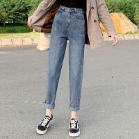 白领公社 牛仔裤 女士秋冬季紧身高腰裤韩版女式保暖加绒加厚学生长裤子