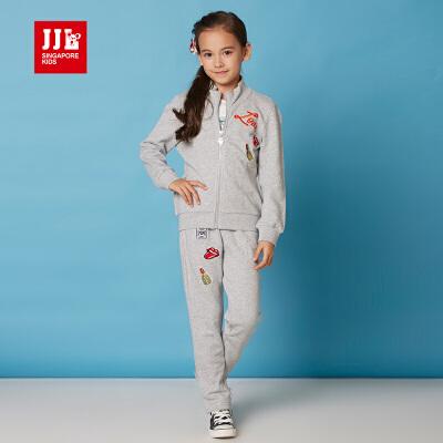 季季乐童装春秋季女童运动套装春女大童套装外套休闲裤两件套GCZ61039专柜同款