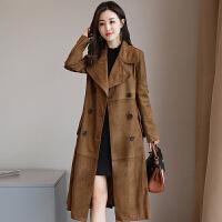 风衣女中长款韩版春季2017新款修身过膝罗子君同款鹿皮绒大衣外套