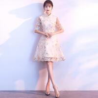 改良旗袍连衣裙2018新款春季日常短款时尚少女中国风刺绣中式礼服 香槟色