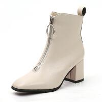 短靴女秋冬2019方�^前拉�中跟�R丁靴粗跟高跟鞋女冬季女靴子