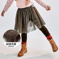 【129元任选3】迷你巴拉巴拉女童网纱打底裙裤冬保暖加绒裤子儿童假两件长裤
