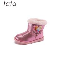 【3折价:170.4元】他她tata童鞋女童靴子秋冬新款加绒女靴冰雪奇缘低筒短靴中大童公主雪地靴