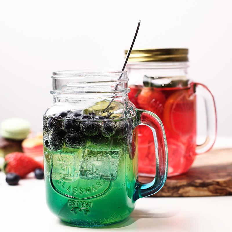 早餐牛奶果汁饮料杯玻璃杯公鸡杯带盖吸管梅森杯耐热透明玻璃水杯