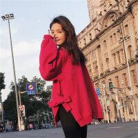 红色卫衣女套头2018春季新款韩版潮学生宽松加绒百搭心机圆领长袖 红色