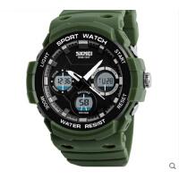 户外运动男士大表盘电子手表双显示防水多功能男学生腕表