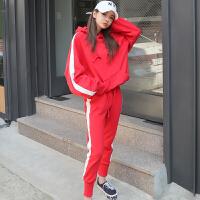 卫衣套装女冬加绒加厚2017新款休闲运动服连帽两件套宽松韩版bf潮