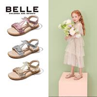 百丽Belle童鞋2020夏季新款女童软底凉鞋中大童时尚公主凉鞋露趾凉鞋