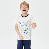 全棉时代蓝白间条男童针织条纹T恤110/56, 1件装