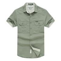 专柜正品战地吉普夏装新款纯棉短袖衬衫 尖领大码男士半袖衬衫 F647款纯色布短袖衬衣货到付款包邮