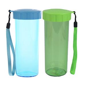 特百惠430ml莹彩随心水杯情侣杯 随身杯2件套  晴天蓝+香瓜绿