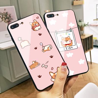 秋田犬苹果X手机壳iphone6新款Xs Max卡通X日韩ins同款8创意全包硬壳7女款7plus玻璃6plus小清新8P个性Xr情侣
