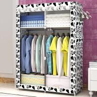 老睢坊 简易衣柜布艺简约现代卧室经济型成人组装加固整体衣柜家用布衣柜