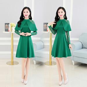 新款修身长袖韩版气质优雅潮流百搭中长款显瘦连衣裙女