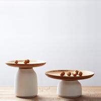 橙舍 荷沁干果盘(矮款)多功能储物白陶瓷罐创意收纳干果盘竹盘家居摆件套装 矮款