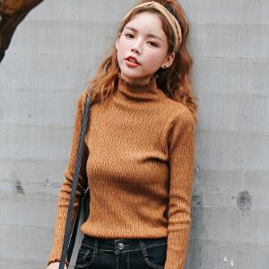 秋冬新款韩版半高领毛衣长袖套头打底衫纯色修身上衣内搭针织衫女