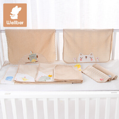 威尔贝鲁 宝宝隔尿垫防水纯棉婴儿尿布垫 新生儿隔尿床垫防漏天然彩棉 舒适安全