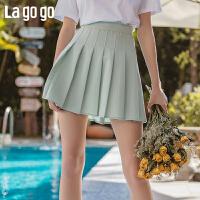 Lagogo拉谷谷2020春新款短裙高腰性感百搭浅绿色百褶A字半身裙女